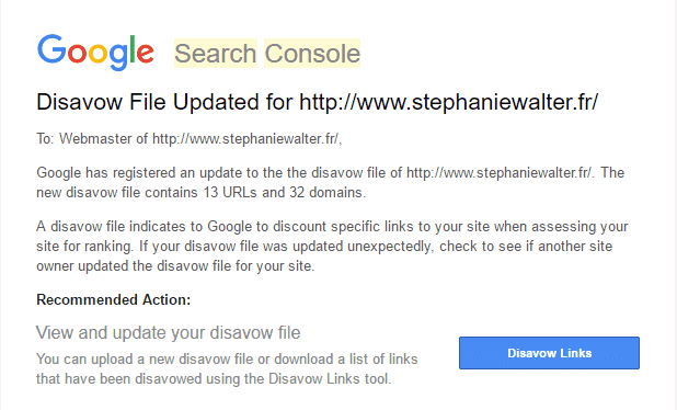 Google search console disavow confirmation