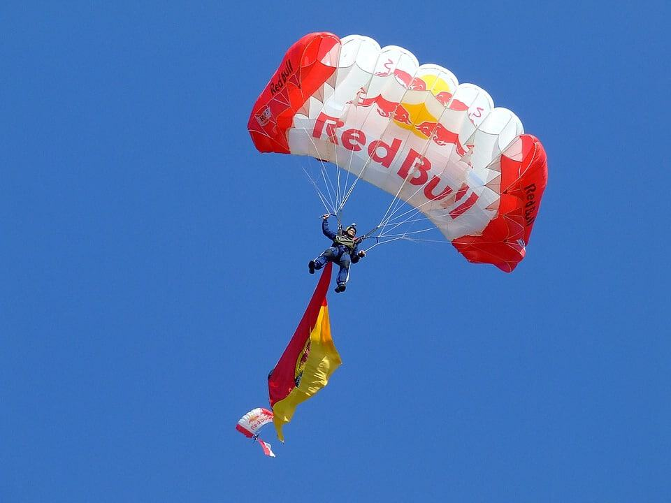 sponsored parachute by red bull