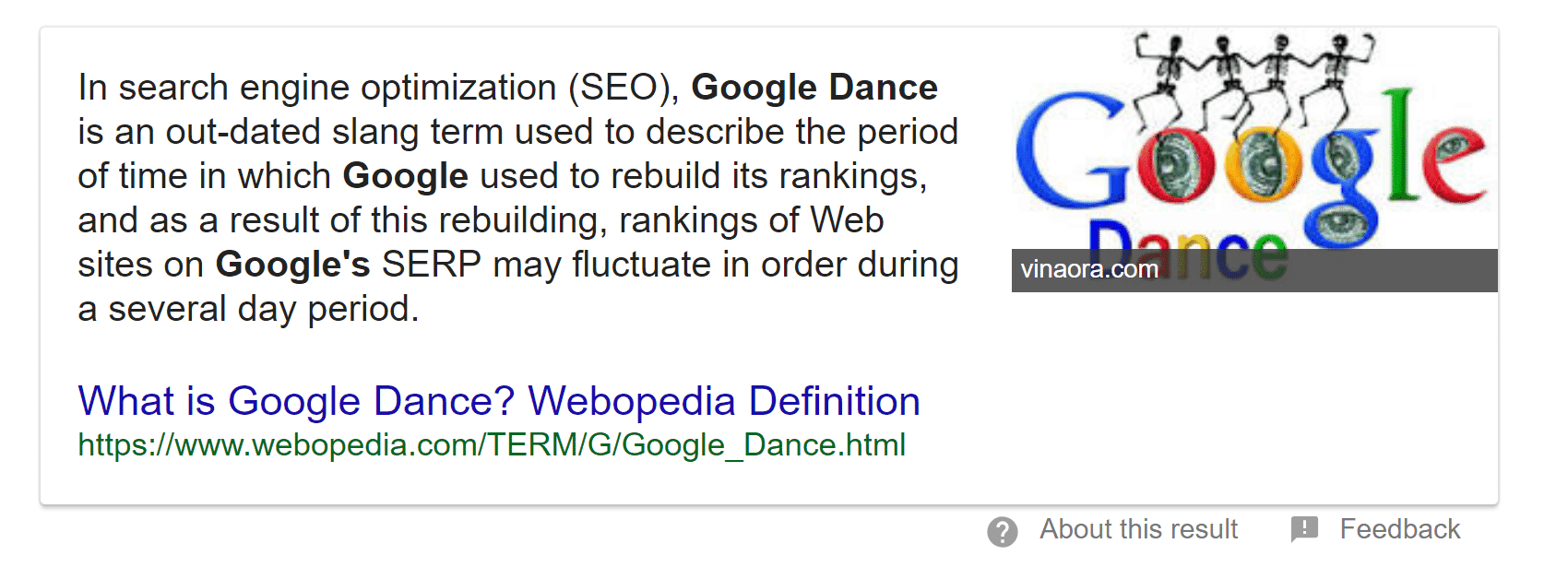 google dance definition answer box results