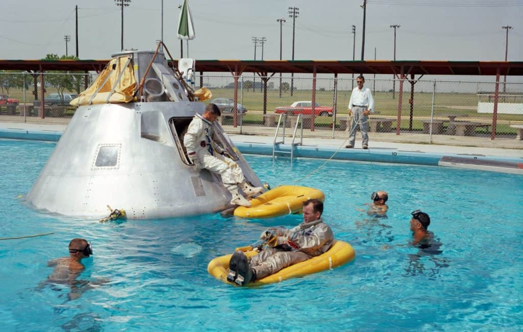 astronauts in pool